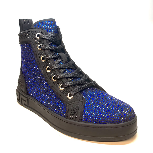 Fiesso Blue Full Crystal Hightop Sneakers - Dudes Boutique