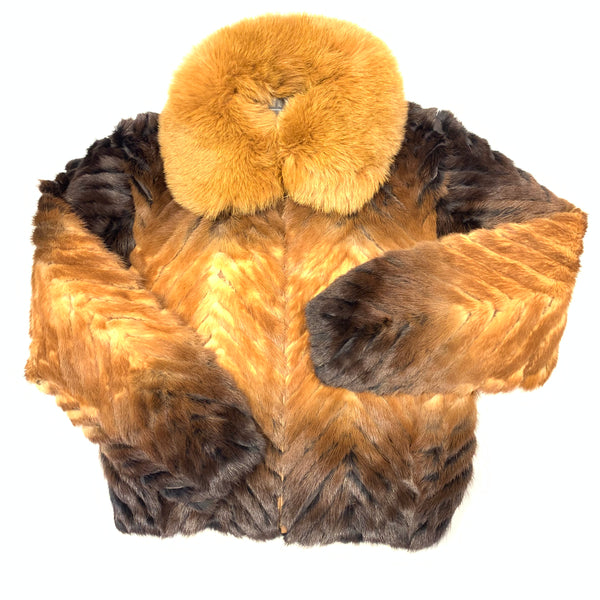 Kashani Women's Cognac Two Tone Mink Tail Fur Jacket