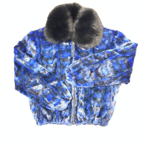 Kashani Women's Blue Diamond Cut Mink Fur Coat