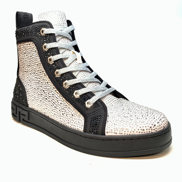Fiesso White Full Crystal Hightop Sneakers - Dudes Boutique