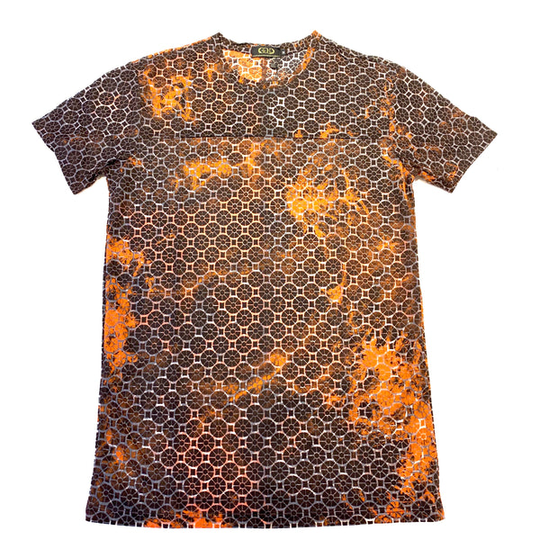 Gold Leaf Two Tone Orange Short Sleeve Shirt - Dudes Boutique