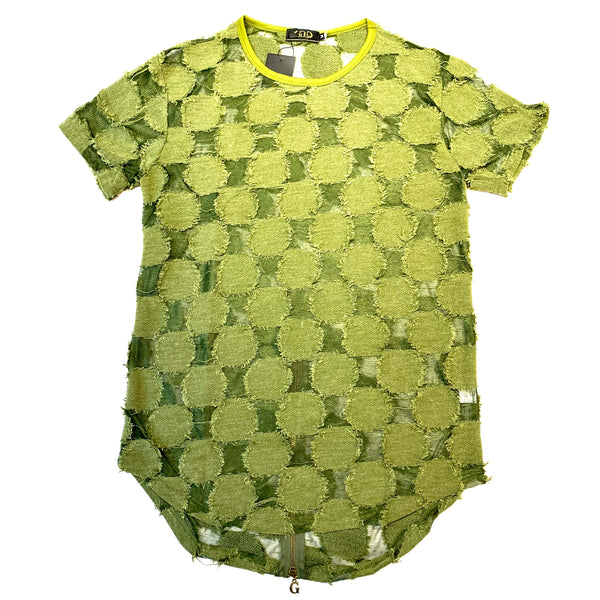 Gold Leaf Olive Green Zipper Short Sleeve Shirt