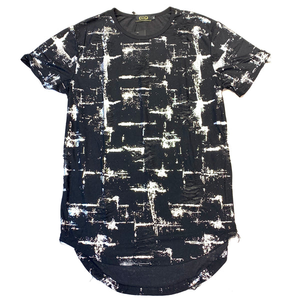 Gold Leaf Black Silver Double Zip Ripped  Short Sleeve Shirt - Dudes Boutique