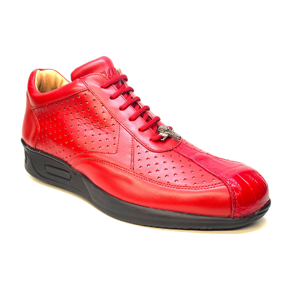 Mauri M770 Red Crocodile Perforated Nappa Leather Sneaker