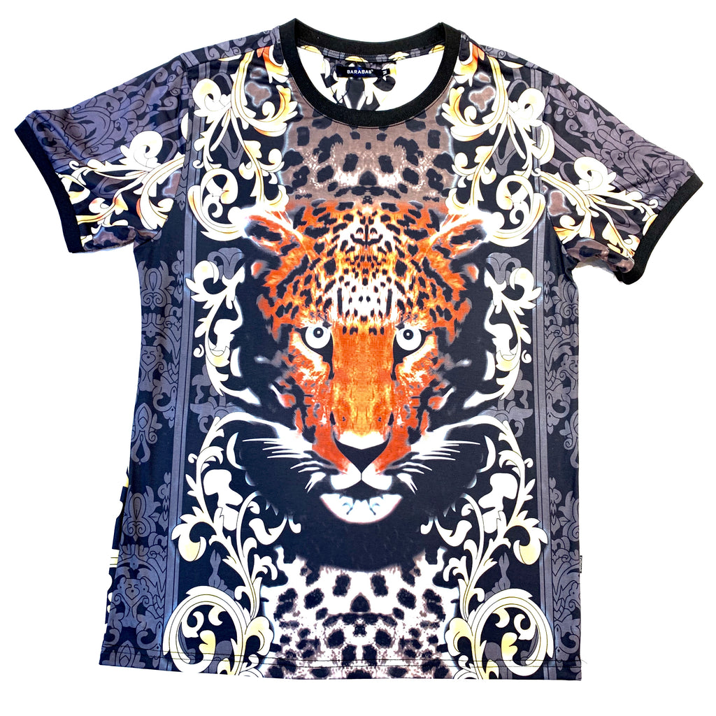 Barabas Cheetah Face Short Sleeve Shirt
