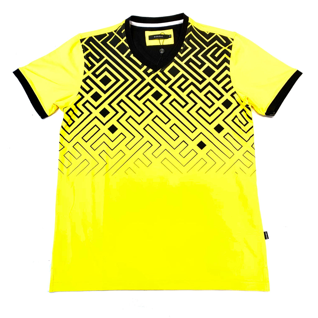 Barabas Black Yellow Zig Zag Short Sleeve T-Shirt