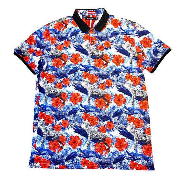 Barabas Blue Red Rose Leopard Polo Shirt