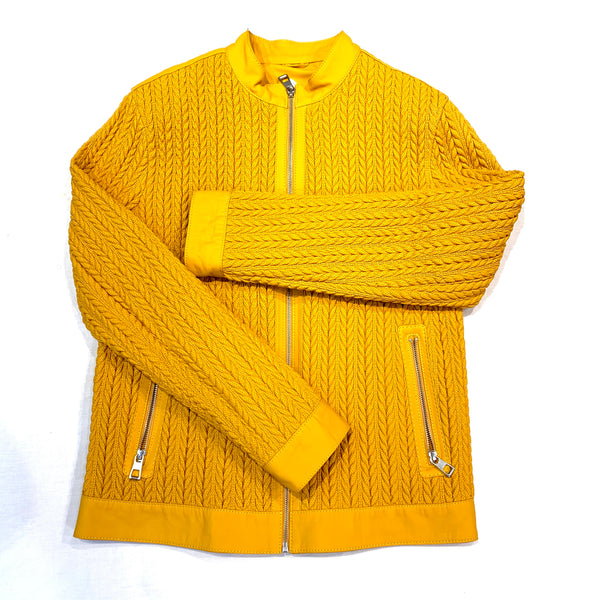 Barya NewYork Mustard Lambskin Waved Chines Collar Jacket