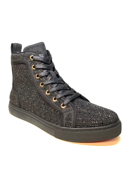 Fiesso Black Full Crystal Hightop Sneakers - Dudes Boutique
