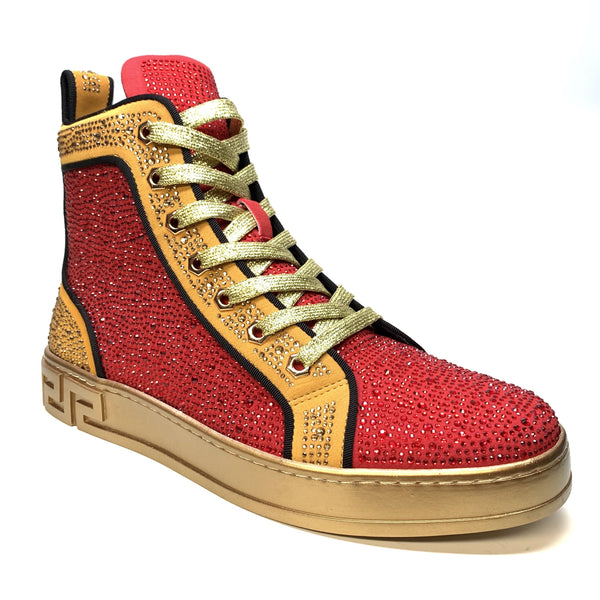 Fiesso Red/Gold Full Crystal Hightop Sneakers - Dudes Boutique