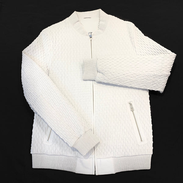 Barya NewYork White Lambskin Waved Baseball Jacket