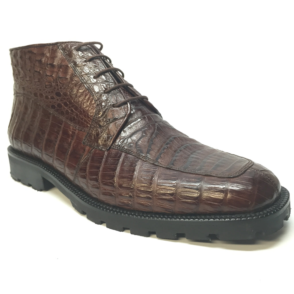 Los Altos All-Over Crocodile Lace Up Ankle Boots - Dudes Boutique - 1