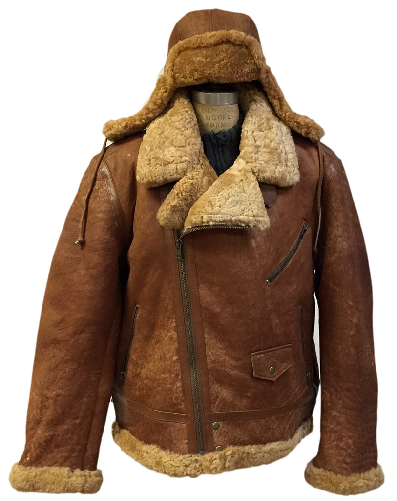 Jakewood - Shearling & Cow Racing Aviator Jacket - Dudes Boutique - 1