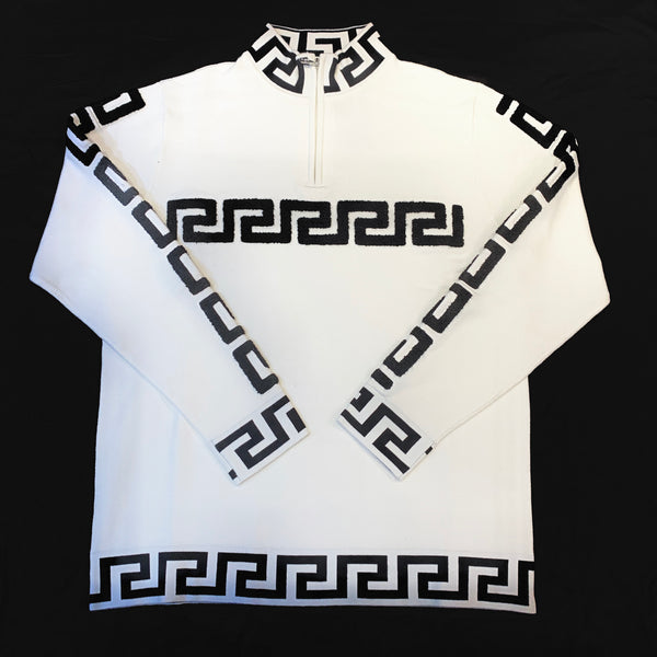 Prestige Men's Black White Greek Key Sweater - Dudes Boutique