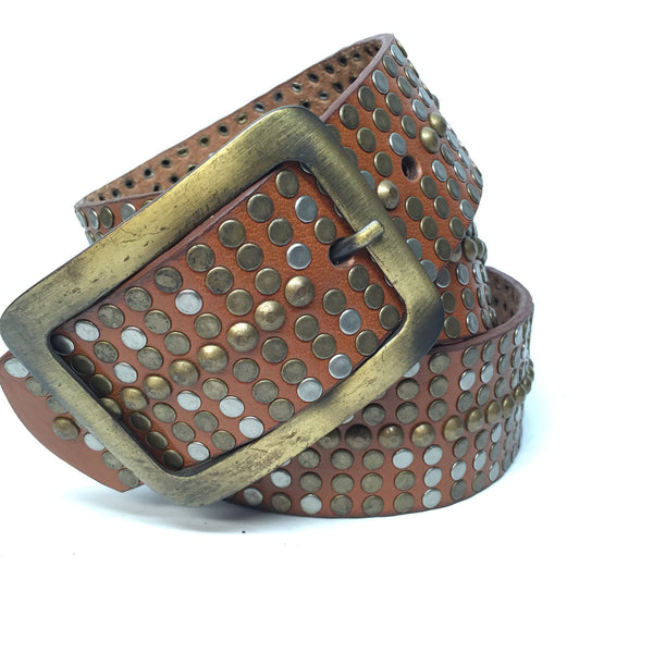 Bed|Stu Brown Studded Leather Belt - Dudes Boutique