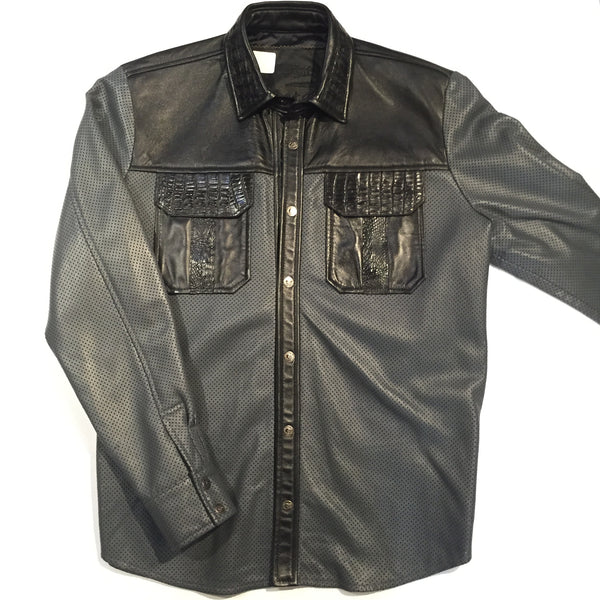 G-Gator Perforated Lambskin Button-Up w/ Crocodile Pockets - Dudes Boutique