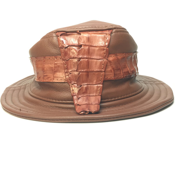 G-Gator Cognac Lambskin/Crocodile Tail Bucket Hat - Dudes Boutique - 1