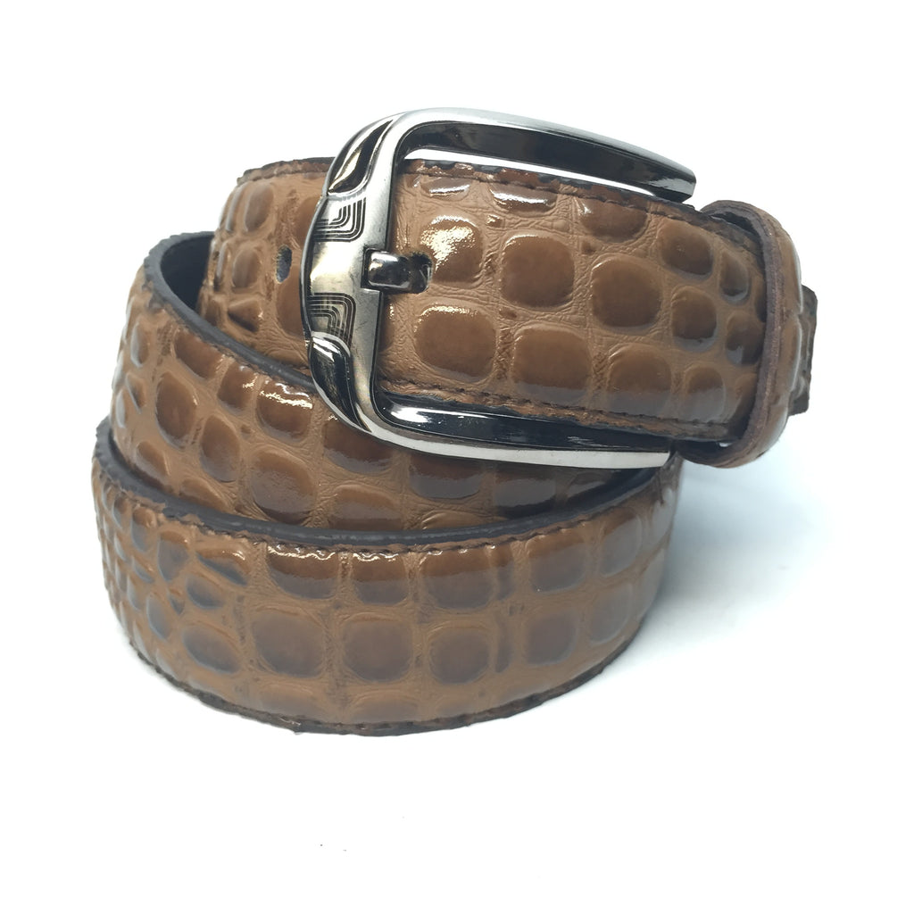 Brown Patent Leather Crocodile Print Belt - Dudes Boutique