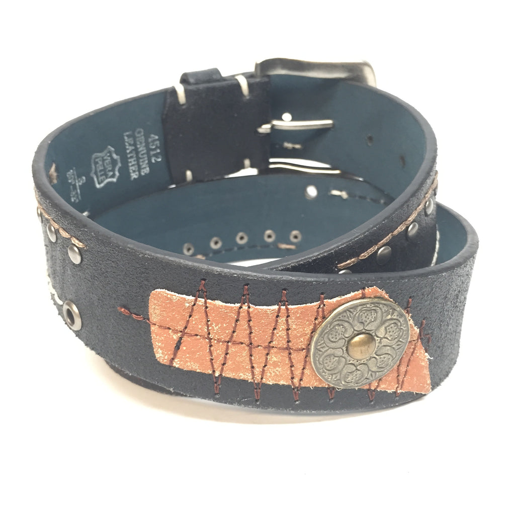 Black/Orange Patch Stitched Belt - Dudes Boutique