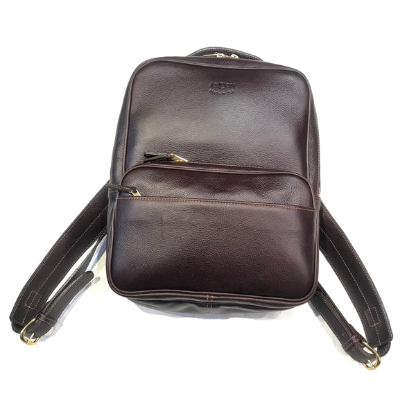Aston Leather Chocolate Brown Clinton Zippered Backpack - Dudes Boutique