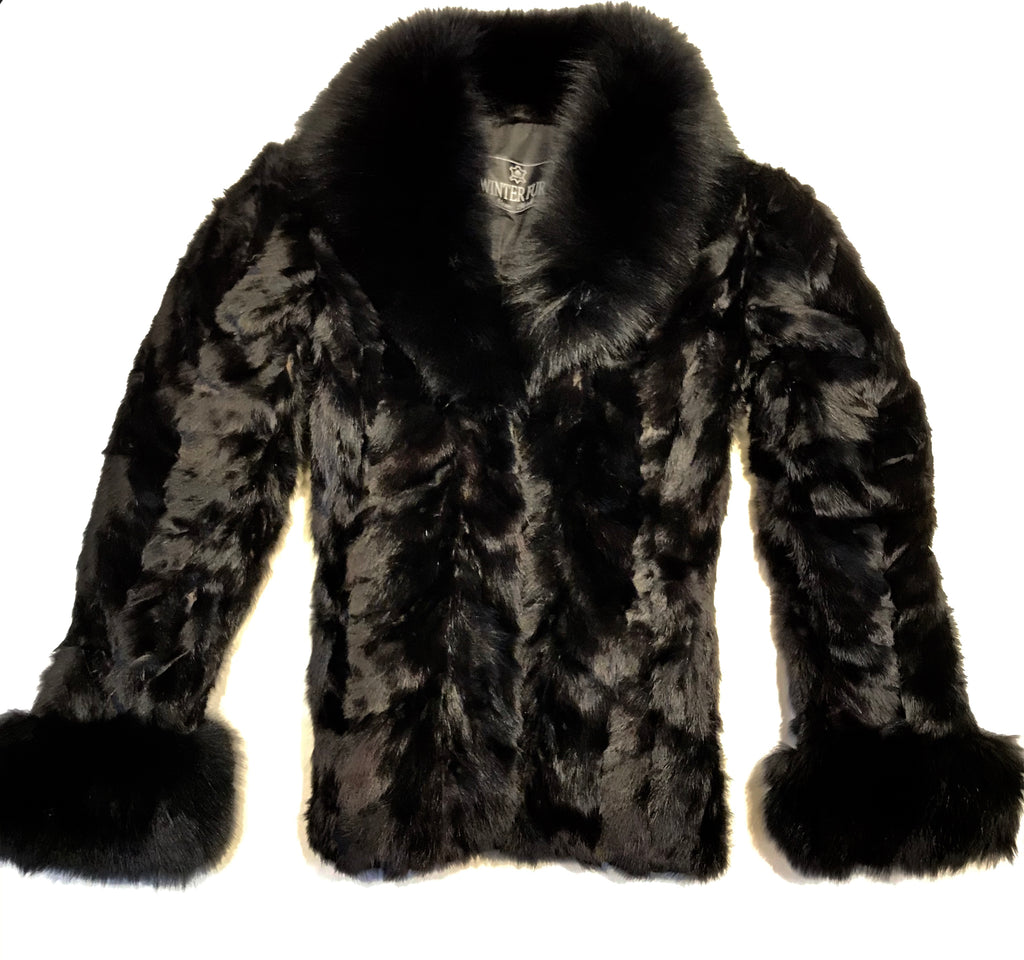 Kashani Ladies Black Bomber Mink Fur Coat