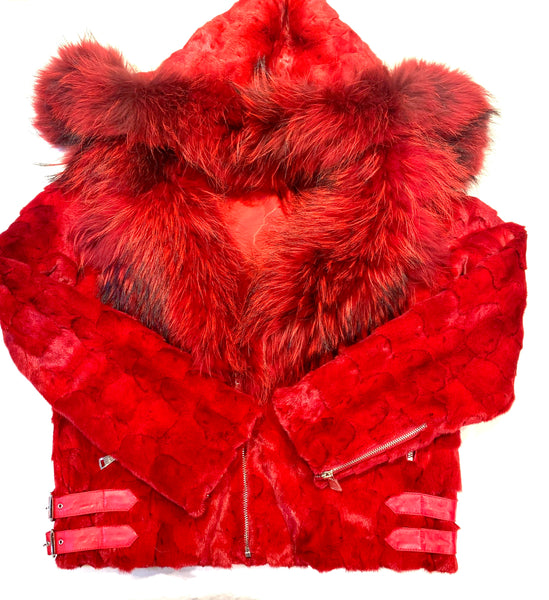 Kashani Mink Red Detachable Fox Collar Biker Jacket