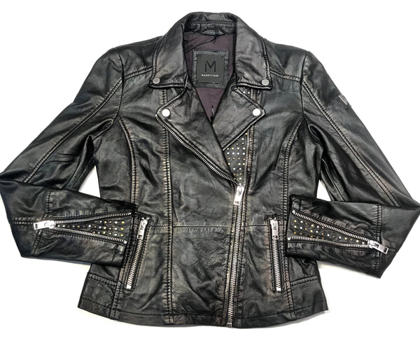 Mauritius Ladies Metallic Washed Lamb Skin Biker Jacket