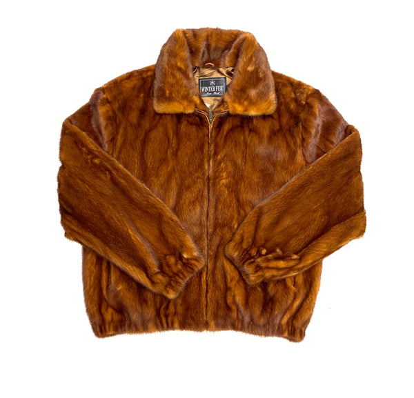 Kashani Men's Cognac Full Mink Fur Coat