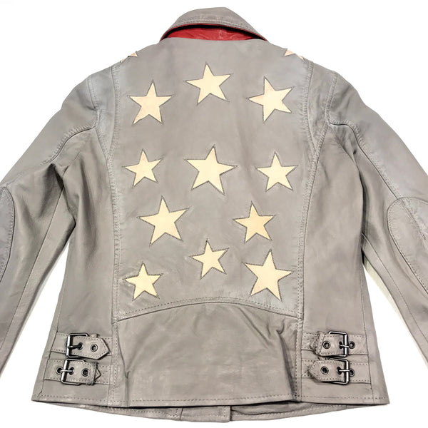 Mauritius Ladies 'Stars' Light Grey Lamb Skin Biker Jacket