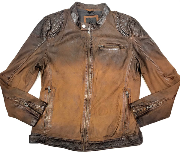 Mauritius Men's Antique Brown Washed Lambskin Leather Jacket