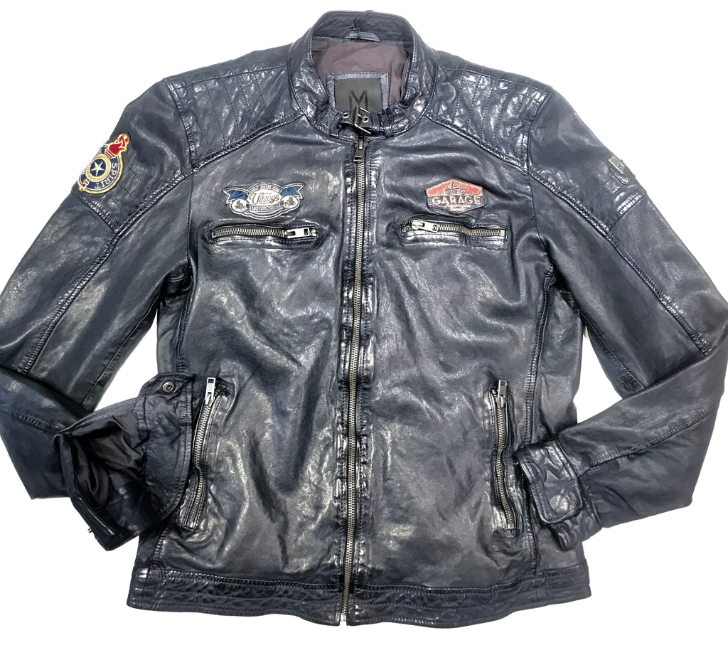 Mauritius Men's Navy Blue Lambskin Leather Jacket - Dudes Boutique