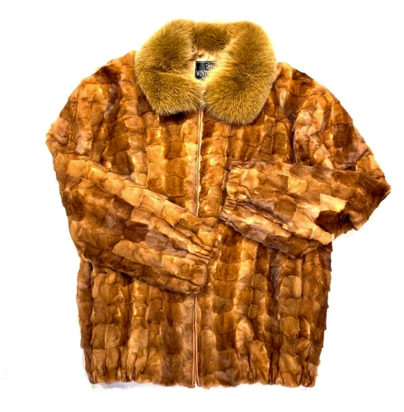 Kashani Men's Whiskey Diamond Cut Mink Fox Collar Coat