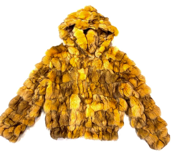 Kashani Men's Honey Comb Hooded Fox Fur Coat