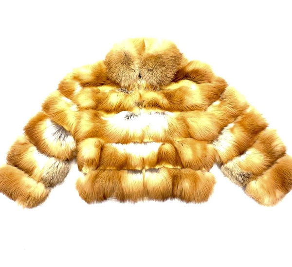 Kashani Men's Cognac Spliced Fox Fur Coat