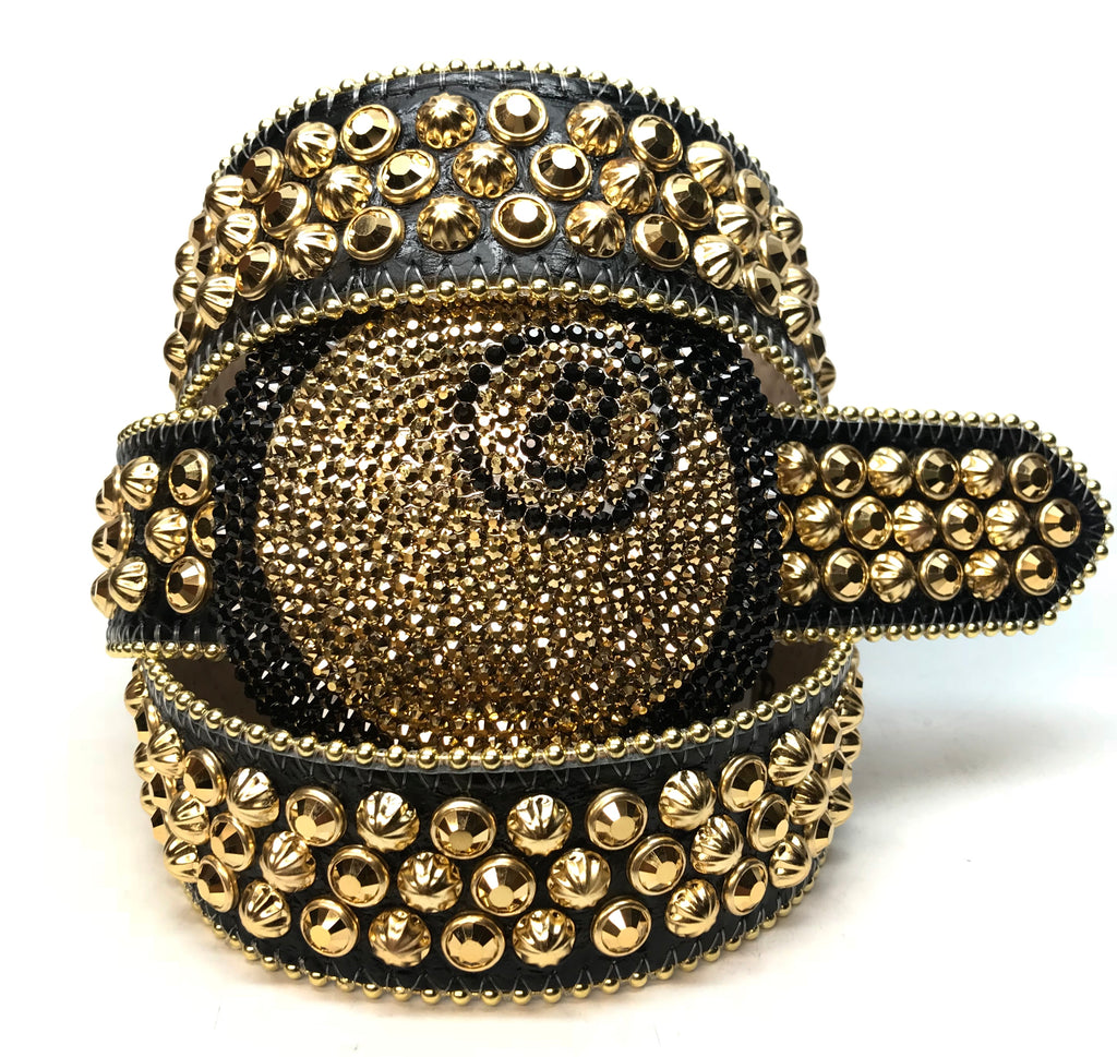 b.b. Simon '8 Ball' black & gold Crystal Belt - Dudes Boutique