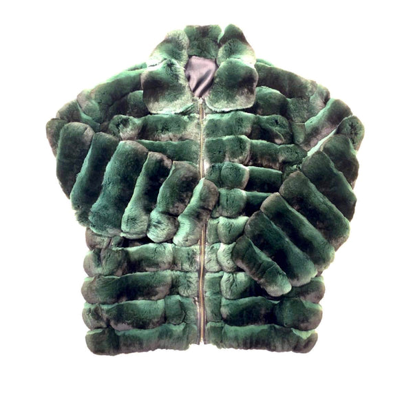 Kashani Men's Forest Green Full Chinchilla Fur Coat