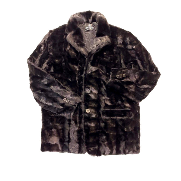 Kashani  Men's Black Diamond Cut Mink Car Coat