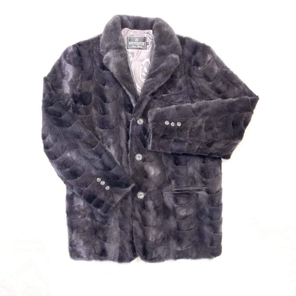 Kashani  Men's Grey Diamond Cut Mink Car Coat