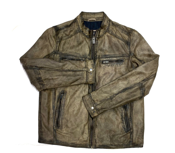 Missani Olive Green Lambskin Washed  Zip-Up Jacket