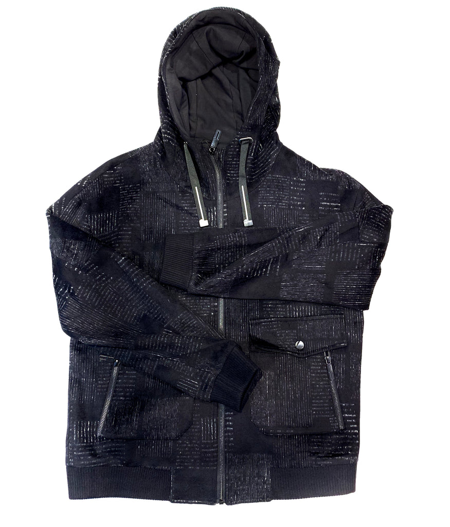 "Barabas ""BH62"" Men's Black-Grey Plaid Zipper Hooded Jacket"