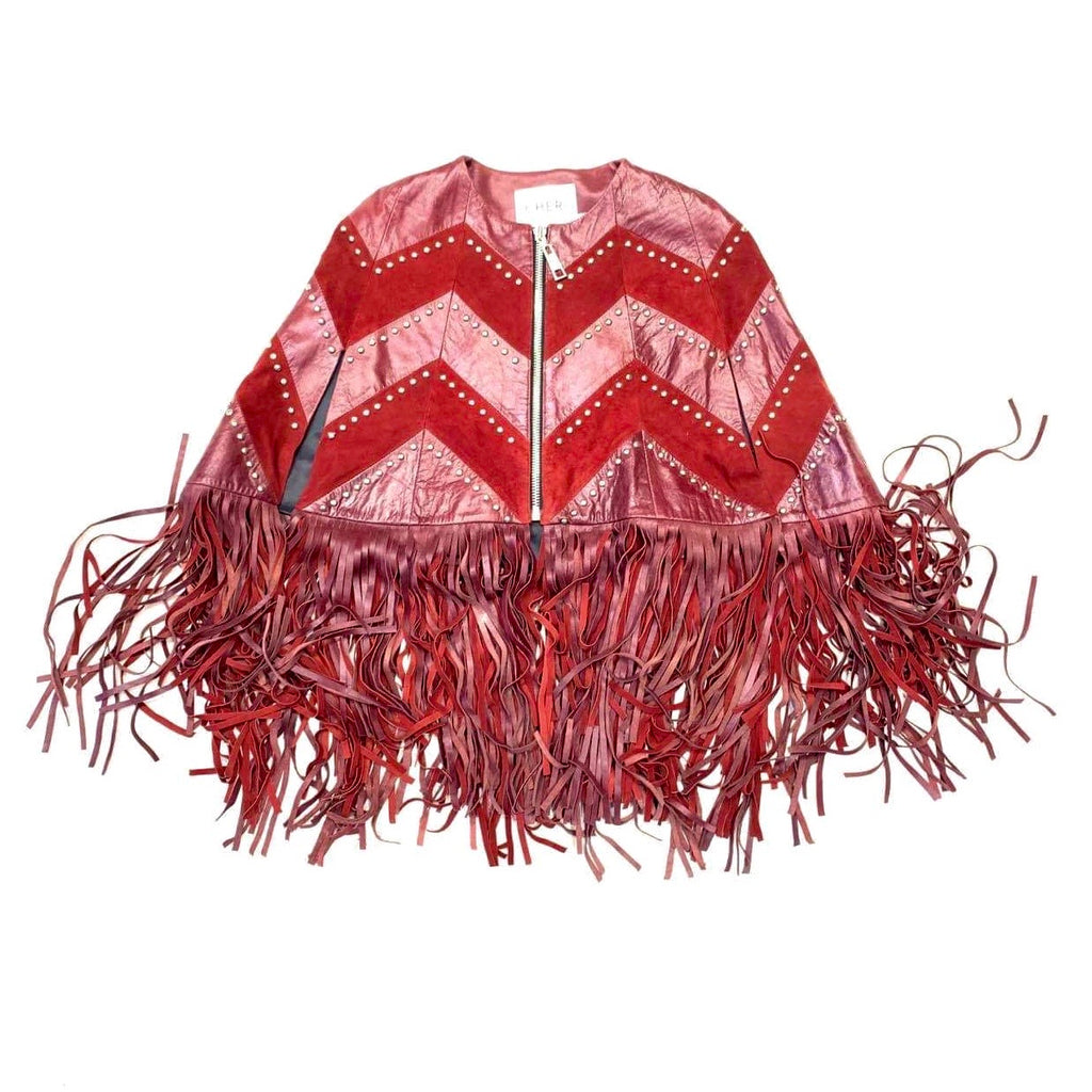 Kashani Ladies Red Suede/Leather Studded Fringe Poncho
