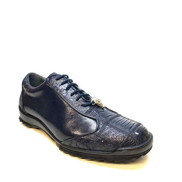 Los Altos Navy Blue Ostrich Leg Lace Up Sneakers