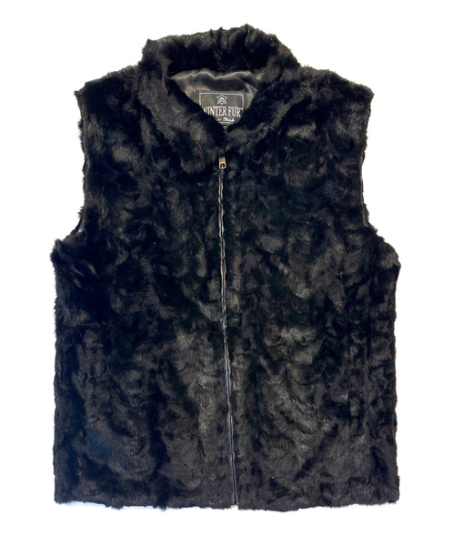 Kashani Men's Black Mink Fur Vest