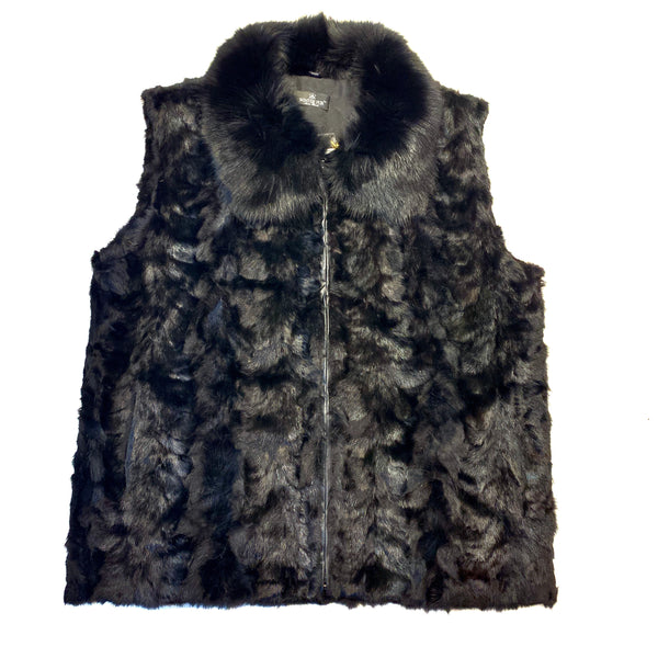 Kashani Men's Black Mink Fur Fox Collar Vest