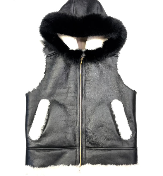 Kashani Jet Black Fox Fur Shearling Vest