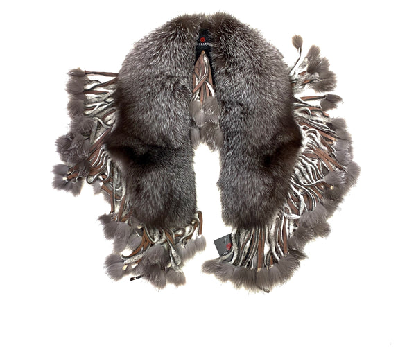 Kashani Ladies Silver Fox Fur Tassel Scarf - Dudes Boutique