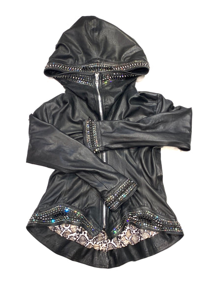 Hoss Couture Women's Swarovski Lambskin Leaf Studded Moto Jacket - Dudes Boutique