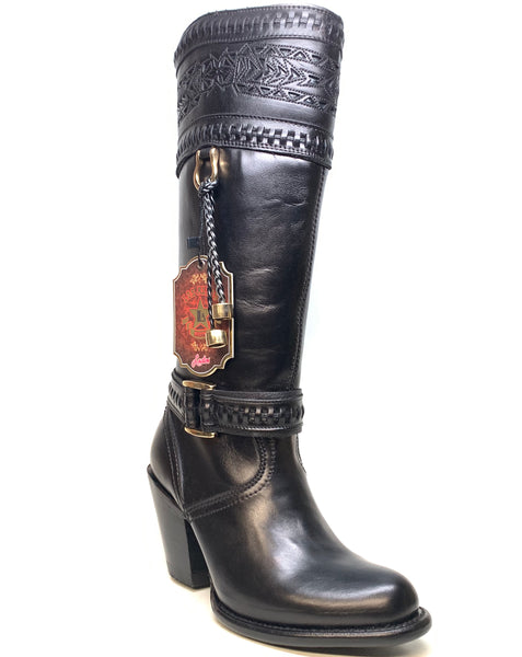 Los Altos Ladies Black Bovine Leather Zipper Knee Boot - Dudes Boutique