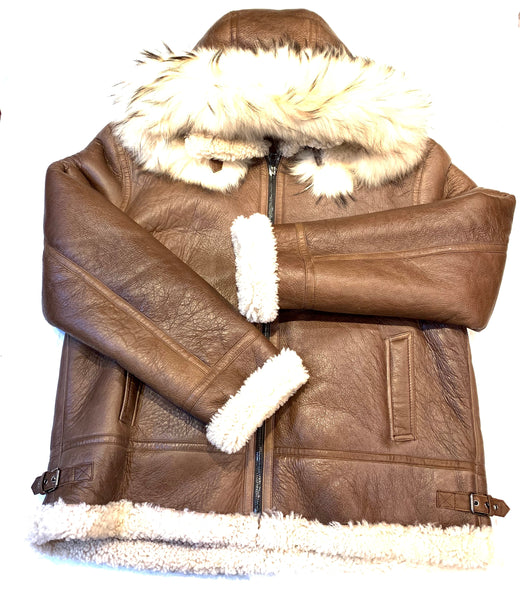 Kashani Men's Chocolate Brown Shearling Fox Hooded Bomber Jacket