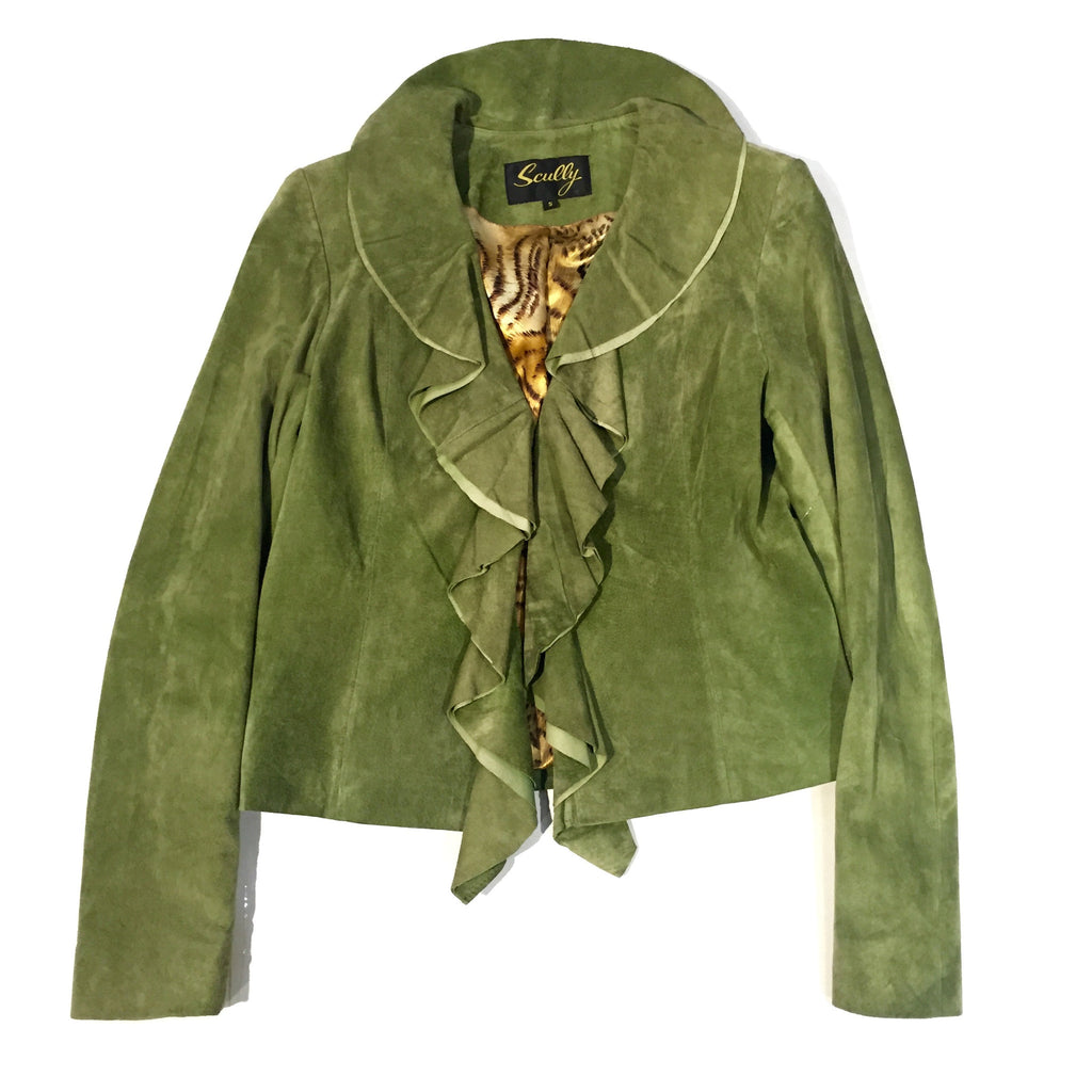 Scully Olive Ruffle Suede Jacket - Dudes Boutique